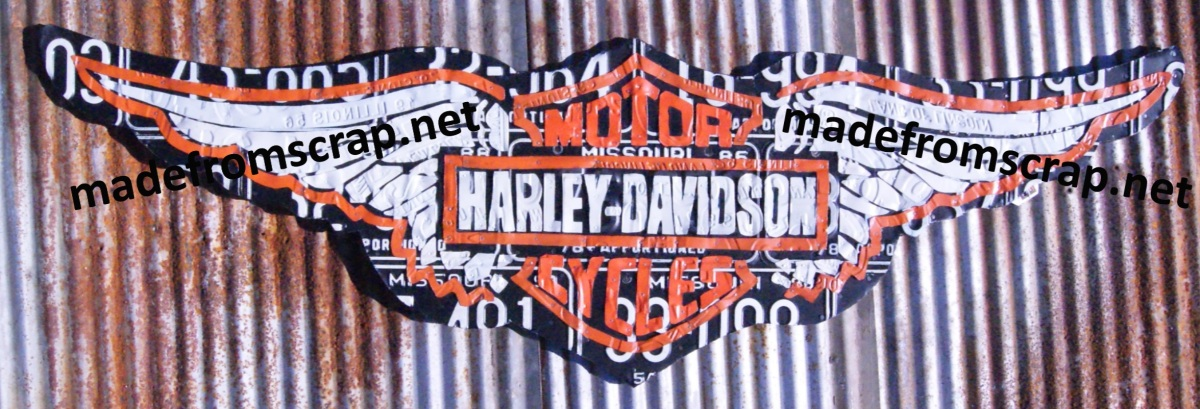 Harley Davidson License Plate Art, 4′ wide on wood background